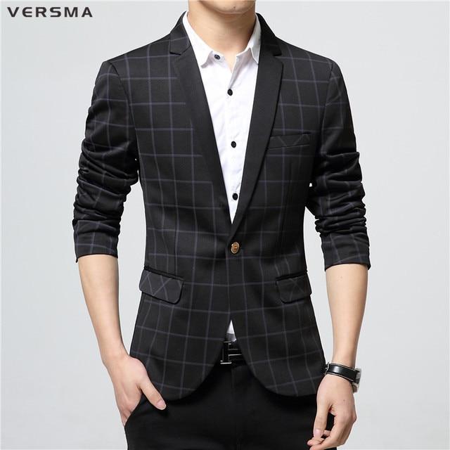 24248b503722e VERSMA 2017 brytyjski Slim Fit Blazer mężczyzn wzory Plaid stylowe garnitury  marynarki marka mężczyzna formalne Royal