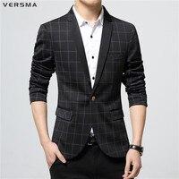 VERSMA 2017 British Slim Fit Blazer Men Designs Plaid Stylish Suits Blazers Brand Mens Formal Royal