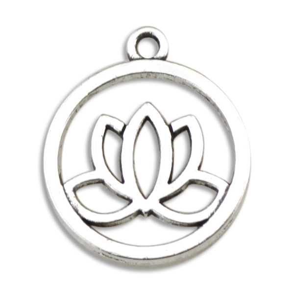 My Shape Antique Silver Plated Yoga Flower Yoga Symbols Om Ohm