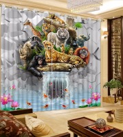 Modern Home Curtains 3D Creative brick wall waterfall Curtains For Living room animals Kids Room Curtains