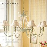 Французские пасторальные романтические хрустальные люстры для столовой  гостиной  спальни  небольшой Европейский стиль  свежий тканевый к...