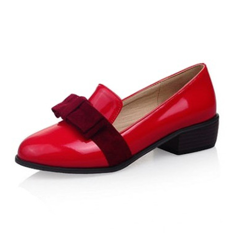 New Oxfords For Women Shallow Mouth Slip-on Loafers Fashion Bow Shoes Pointed Toe Low Heeled Oxfords Size 34-43 Women Flat Shoes 2017 the new european american fashion horn bow pointed mouth shallow comfortable flat sheet metal red shoes tide size 35 41