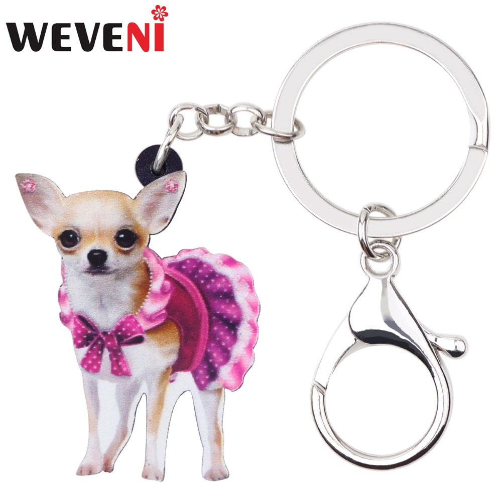 WEVENI Acrylic Cute Pink Dress Chihuahua Dog Key Chains Keychain Rings Animal Jewelry For Women Girl Female Bag Party Car Charms