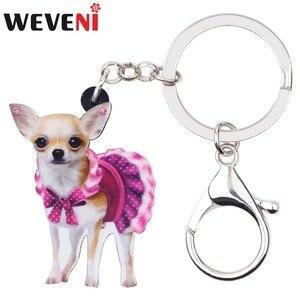 Weveni acrílico bonito rosa vestido chihuahua cão chaveiros chaveiro anéis jóias animais para as mulheres menina feminino saco festa carro encantos