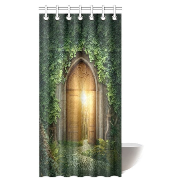 Aplysia Fantasy Shower Curtain Sun Seen Through Mysterious Half Opened Wooden Door Entrance With Greenery Fabric