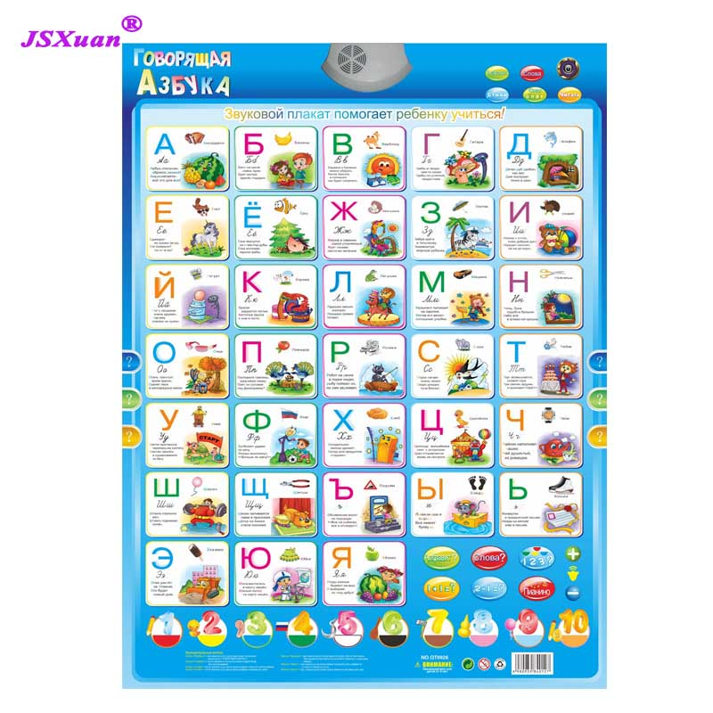 Jsxuan Russian Alphabet Talking Poster Russia Kids Education Toys Electronic Learning Educational Phonetic Chart Kid Gift