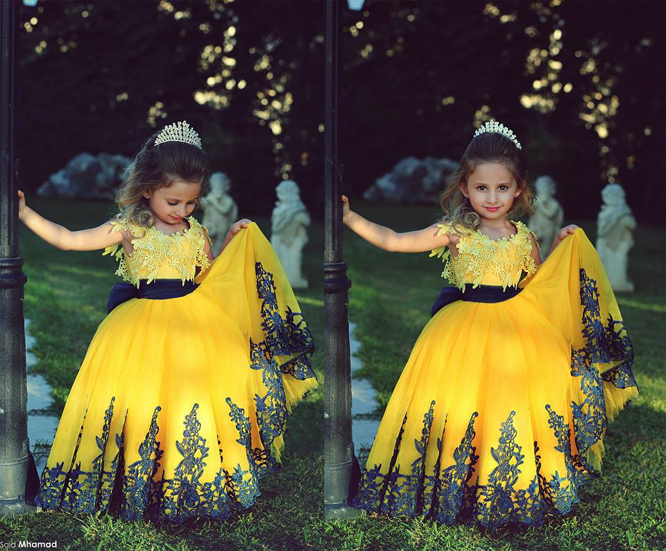 2015 Hot Sale vestidos infantis Yellow Tulle Lace Embroidery Ball Gown Lovely Pageant Dresses For Little Girls (FLYA-1009)