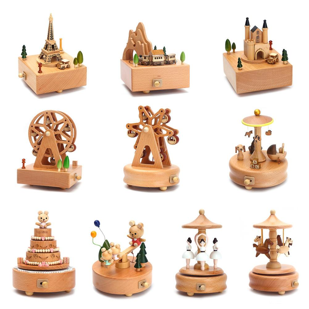 Kawaii Zakka Carousel Musical Boxes Wooden Music Box Wood Crafts Retro Birthday Gift Vintage Home Decoration Accessories sticker