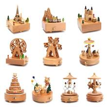 Kawaii Zakka Carousel Musical Boxes Wooden Music Box Wood Crafts Retro Birthday Gift Vintage Home Decoration Accessories(China)