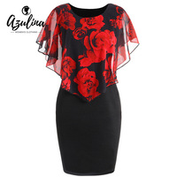 AZULINA Plus Size Rose Valentine Overlay Capelet Dress 2018 Summer O Neck Short Sleeve Women Party
