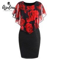AZULINA Plus Size Rose Valentine Overlay Capelet Dress 2018 Summer O Neck Short Sleeve Women Bodycon