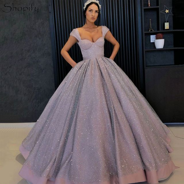 d4a3318bc Puffy Long Evening Dress 2019 Ball Gown abendkleider Cap Sleeve Sparkly  Sequin Arabic Style Women Formal Evening Gowns