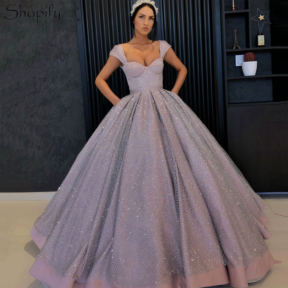 Puffy Long   Evening     Dress   2018 Ball Gown abendkleider Cap Sleeve Sparkly Sequin Arabic Style Women Formal   Evening   Gowns