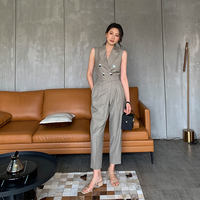 Office Lady Casual Suit Jumpsuit 2019 New Women Runway Sleeveless Buttons Celebrity Party Jumpsuits Sexy Rompers Streetwear