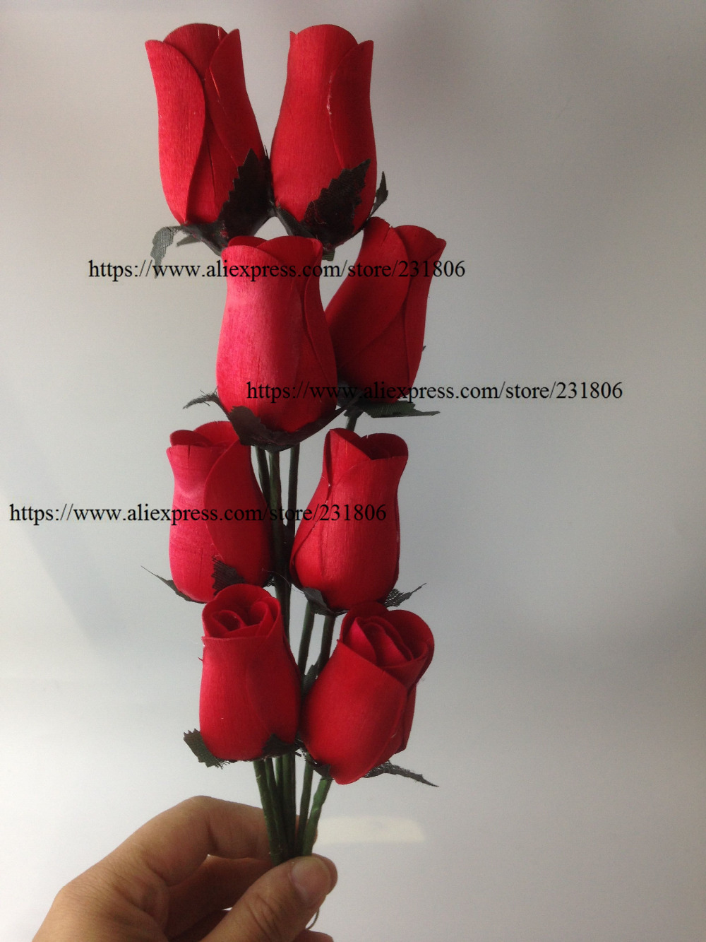 ୧ʕ ʔ୨free Shipping 16pcs Lot Wooden Rose Party Supplies Valentine
