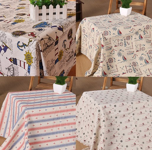 4 Designs Anchors Printed Cotton Linen