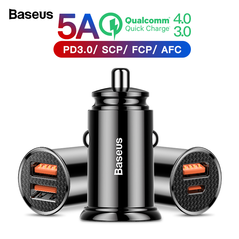 Baseus Quick Charge 4.0 3.0 USB Car Charger For Xiaomi mi 9 Huawei P30 Pro QC4.0 QC3.0 QC 5A Fast PD Car Charging Phone Charger grille