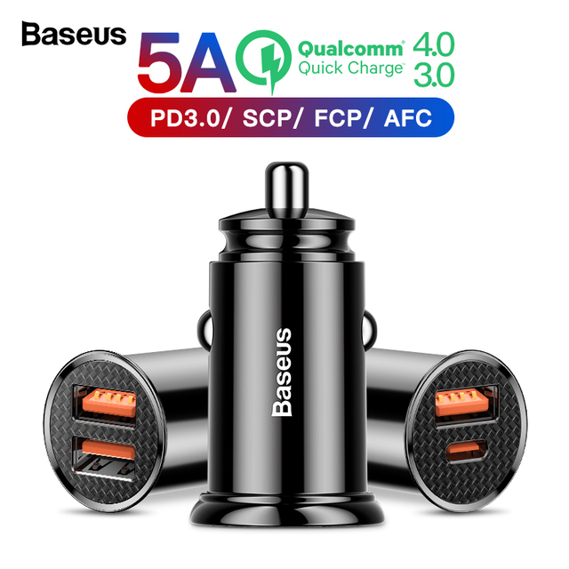 Baseus Quick Charge 4.0 3.0 USB Car Charger For Xiaomi mi 9 Huawei P30 Pro QC4.0 QC3.0 QC 5A Fast PD Car Charging Phone Charger