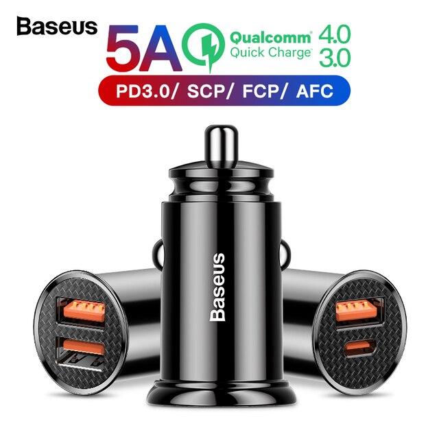 Baseus carga rápida 4,0 USB 3,0 cargador de coche para Xiaomi mi 9 Huawei P30 Pro QC4.0 QC3.0 QC 5A rápido PD cargador de teléfono de carga de coche
