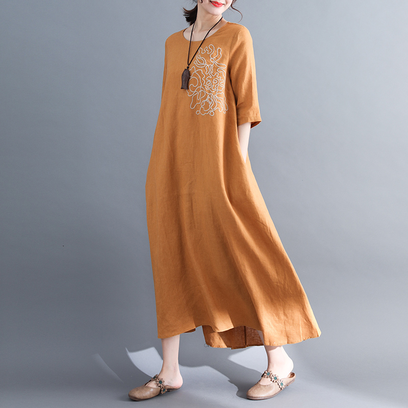Ladies Long Loose Cotton and Linen Dress 2018 New Fashion Women Half Sleeve Embroidery Summer Dresses Pockets Red,Yellow M-XXL