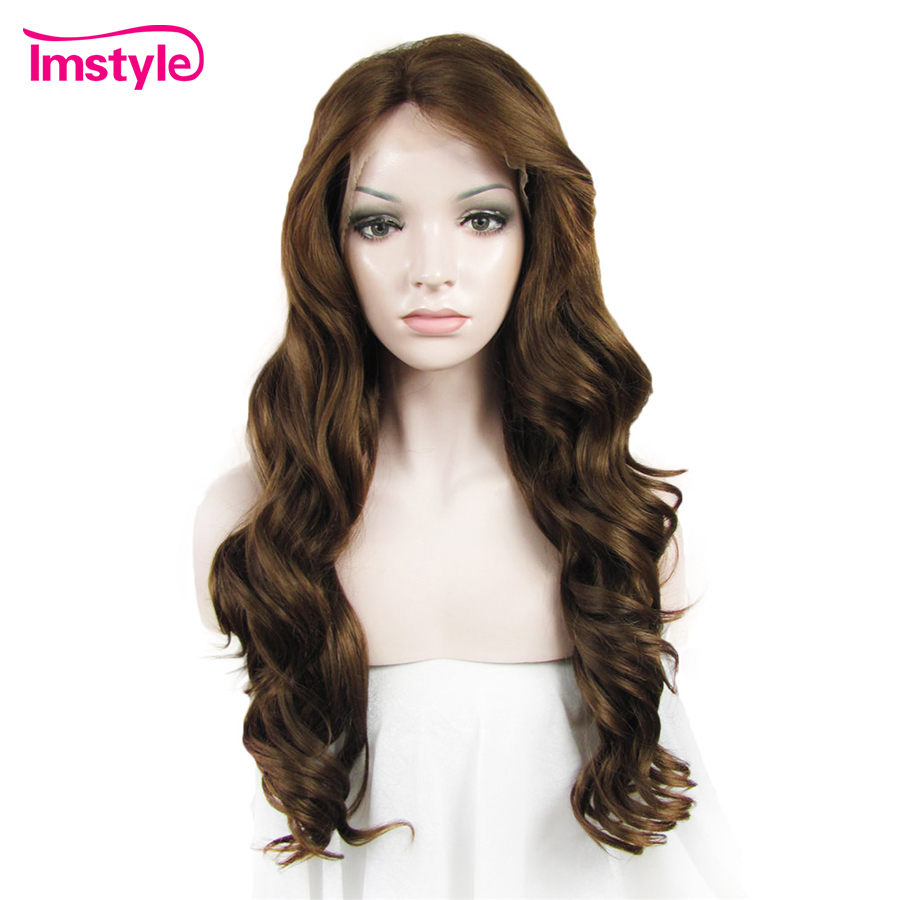 Imstyle Lace Front Wig Body Wave Långa Bruna Paryk För Kvinnor - Syntetiskt hår