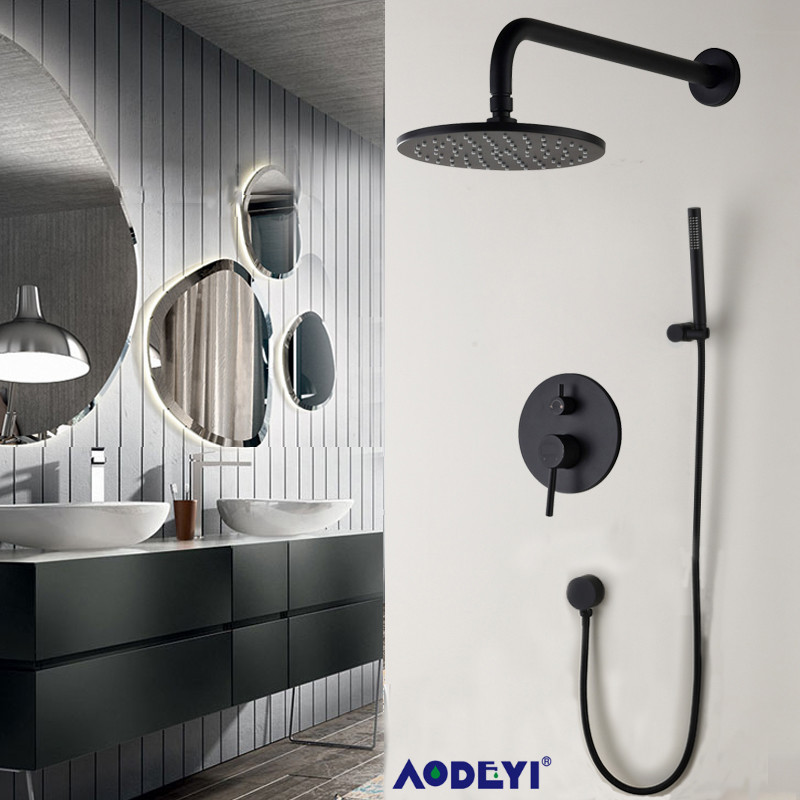 """Brass Black Bathroom Shower Set 8"""" Rianfall Shower Head Shower Faucet Wall Mounted Shower Arm Diverter Mixer Handheld Set"""