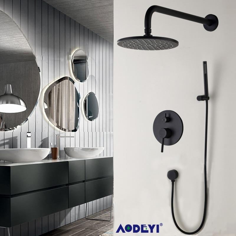 Brass Black Bathroom Shower Set 8 Rianfall Shower Head Shower Faucet Wall Mounted Shower Arm Diverter Mixer Handheld Set