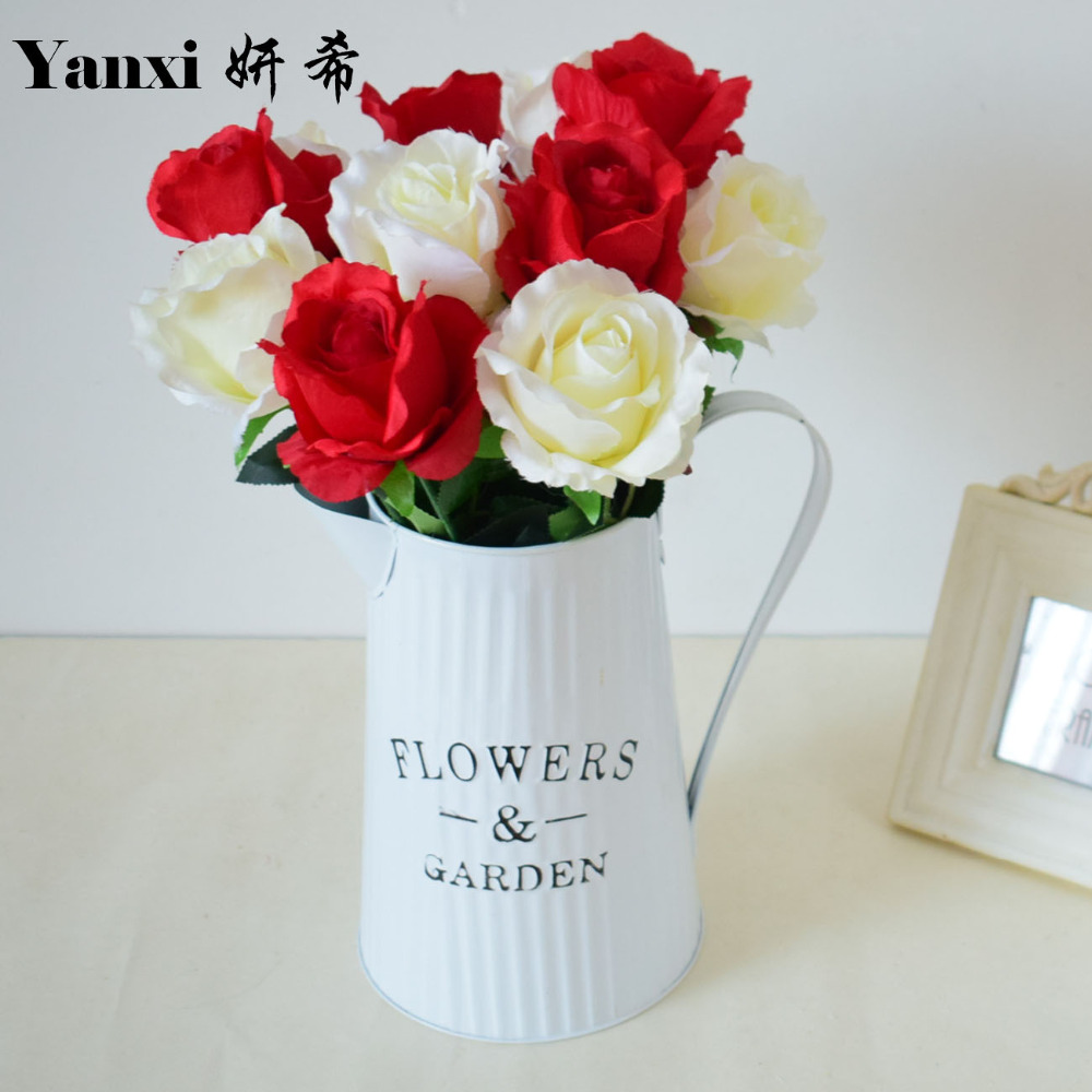 Online get cheap red white blue flower arrangements aliexpress artificial flowers rose with vase set for wedding table home living room kitchen arrangement decoration white blue iron red dhlflorist Gallery