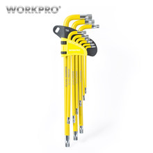 WORKPRO 9PC Universal Hex Key Wrench Set Long Arm/Short Arm Torx Key Set Metric SAE Ball Point Key Set(China)
