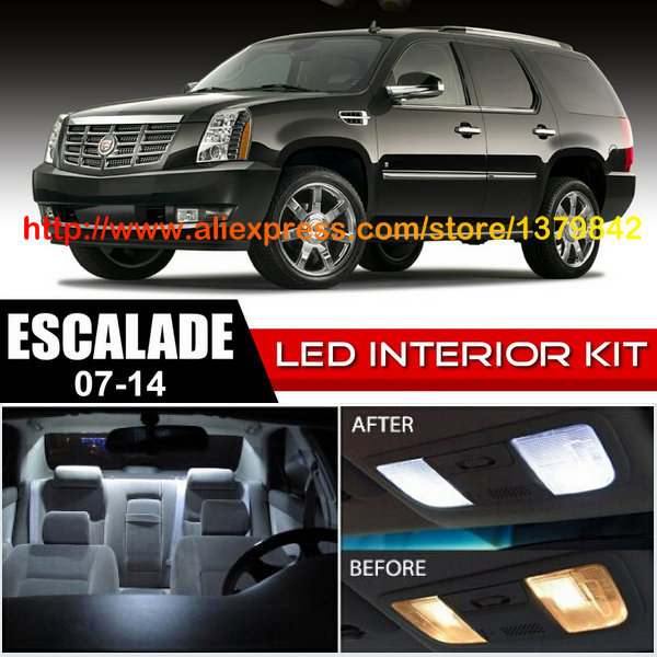 Free Shipping 16Pcs/Lot car-styling Xenon White Canbus Package Kit LED Interior Lights For 07-14 Cadillac Escalade
