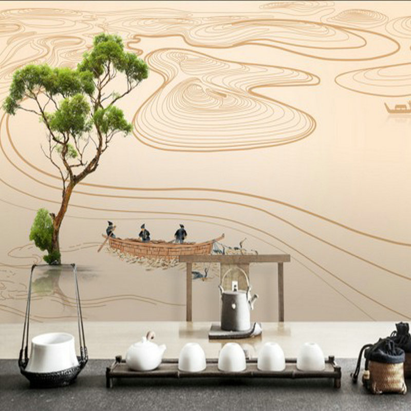 Custom photo wallpaper 3D stereo modern Chinese style hand painted landscape river landscape wallpaper TV background wall mural