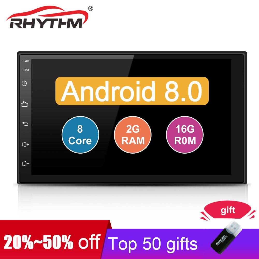 Auto Android 8.0 Octa 8 Core 2G + 16G 2 Din 7 Universel De Voiture Radio Stéréo GPS (aucun) lecteur dvd Pour la Navigation BT WIFI MP3 Audio USB