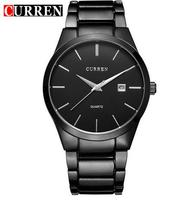 CURREN Round Stainless Steel Quartz Watch Analog Wrist Watch Wristwatch Timepiece With Date For Men Gentleman