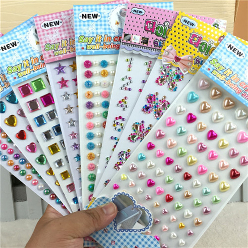 Many Styles Mixed Color Acrylic Rhinestone Crystal Decoration Stickers 3D Baby Kids boys girls DIY Cute Children toys Stickers стоимость