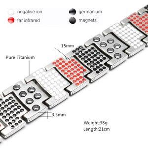 Image 2 - Escalus Mens Pure Titanium Magnetic Bracelet For Men 4in1 Magnets Negative Ions Germanium Health Bracelets jewelry