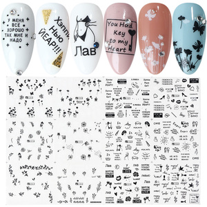 Image 3 - 36pcs Nail Sliders Nail Stickers Set Lettering Leaf Flamingos Designs Manicure Nail Art Water Decals Tattoo Decor TRA1513 1560