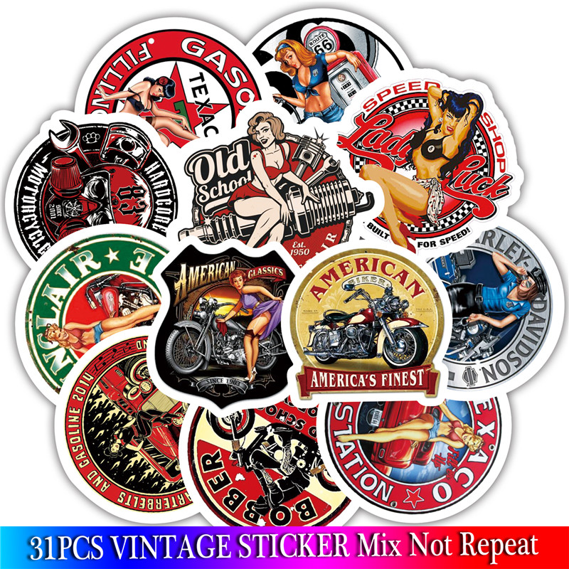 31PCS Sexy Girl Adhesivo Moto Vintage Stickers For Luggage On Laptop Skateboard Bicycle Fridge Sticker Set