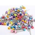100 unids Estrenar Dental Lab Materiales de Color Nylon Latch Piso Pulido Pulidor Prophy Cepillos Dentista Productos