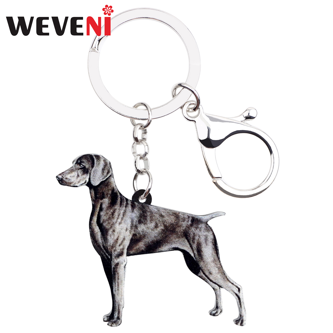 WEVENI Acrylic Weimaraner Dog Key Chain Keychains Holders Animal Jewelry For Women Girls Pet Lovers Gift Bag Car Pendant Charms
