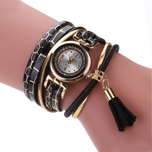 Duoya Vogue Ladies Informal Quartz Watches Luxurious Leather-based Tassels Wrap Wristwatches