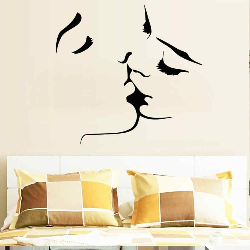 1pc Wall Sticker Chic Couple Kiss Stylish Wallpaper for Home Bedroom Living Room