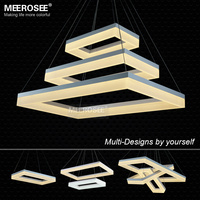 Newest Design LED Chandelier Light LED White Rectangle Acrylic Suspension Hanging Light Lustre LED Home Lighting