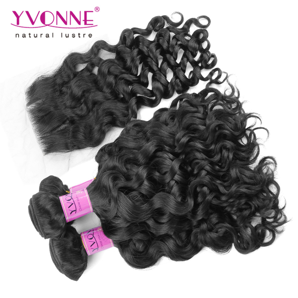 3 Bundles Italian Curly Peruvian Virgin Hair With Closure, Top Quality YVONNE Human Hair Weave, Natural Color 1B