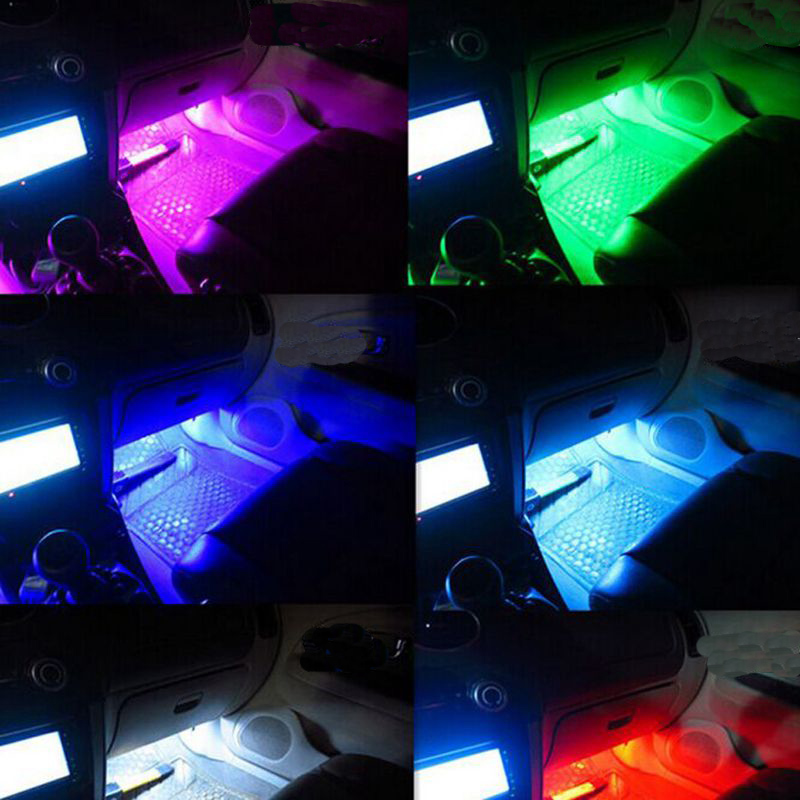 4pcs car rgb led strip light led strip lights colors car styling decorative. Black Bedroom Furniture Sets. Home Design Ideas
