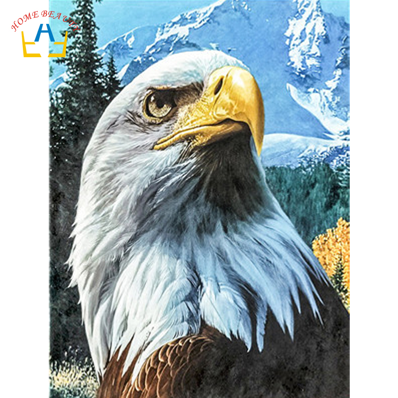 Eagle Animals Numbers Canvas With Acrylic