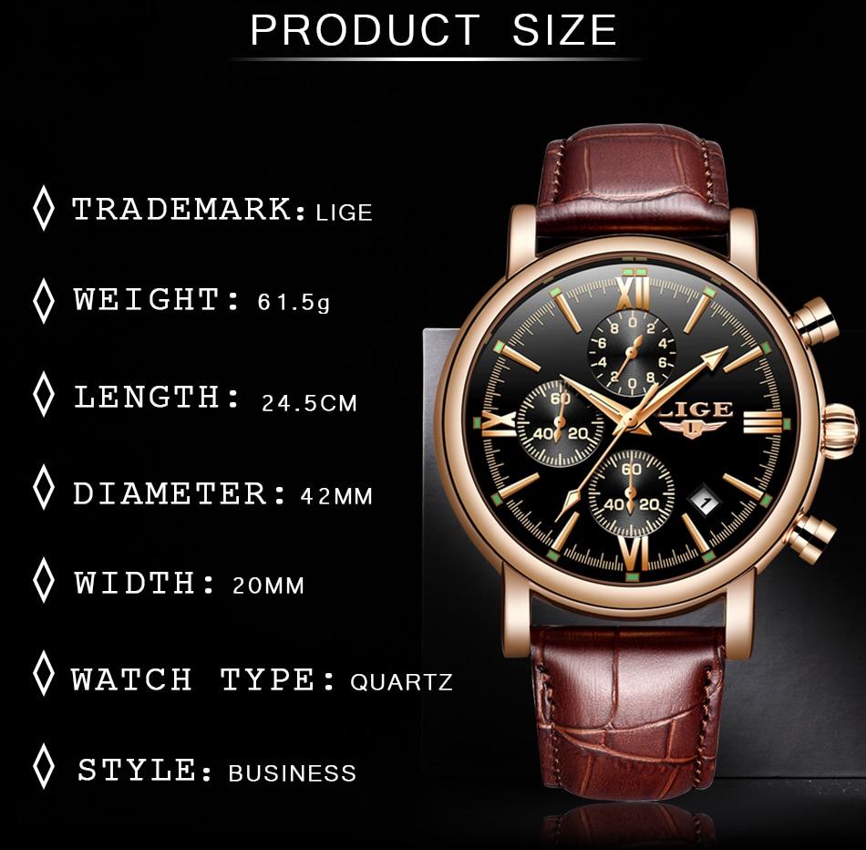 HTB1CC.WaUY1gK0jSZFMq6yWcVXak 2019 LIGE Business Leather Fashion Waterproof Quartz Watch For Mens Watches Top Brand Luxury Male Date Clock Relogio Masculino
