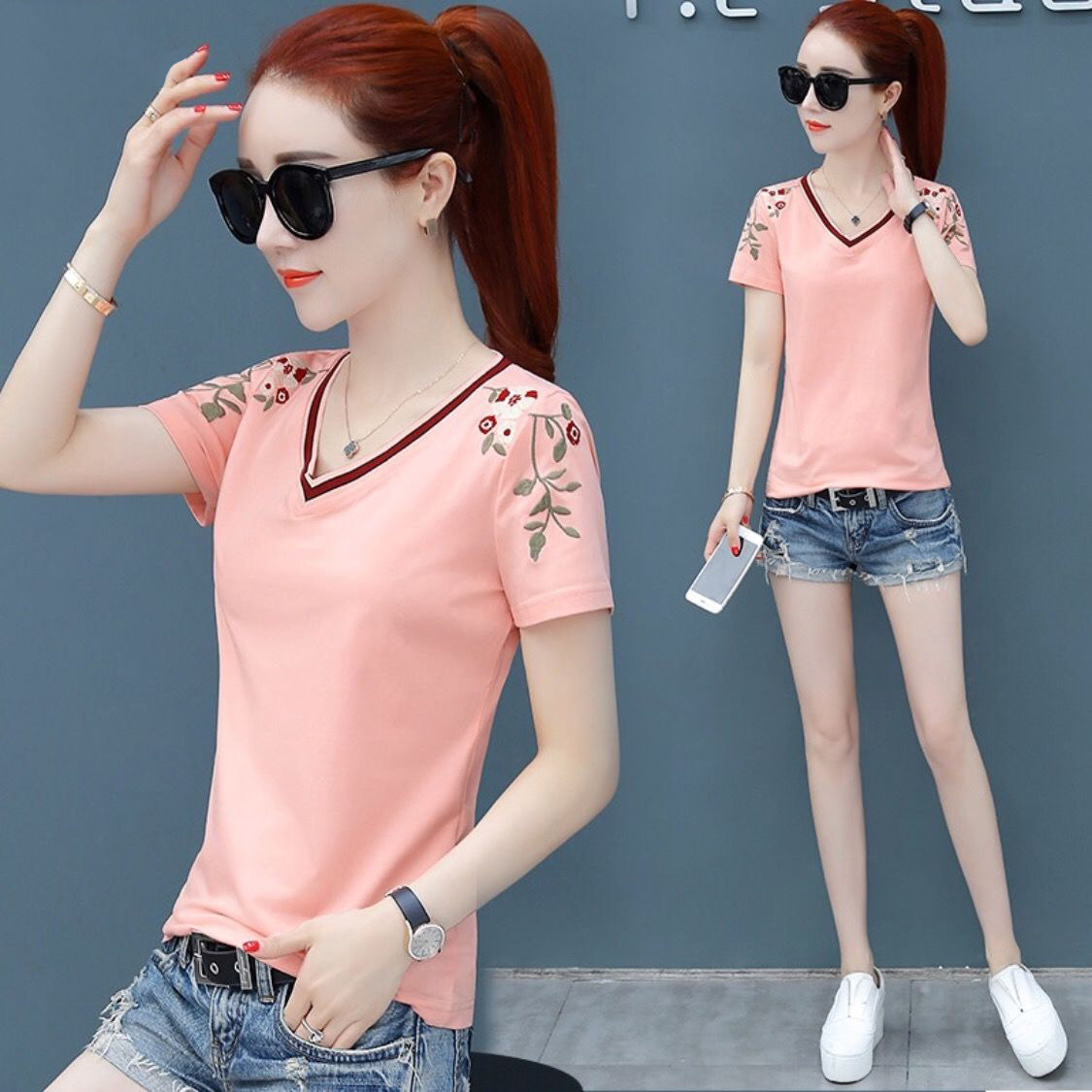 White T Shirt Women Elegant Ladies T Shirts With V Neck Embroidery Casual Tops Tee Shirt Femme