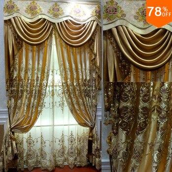 Cortinas bonitas doradas ahuecadas con flores diseño de lujo real de ...