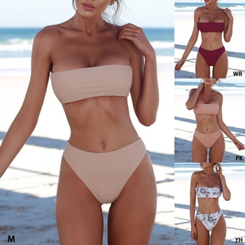 Sexy Women Bikini Set Strapless Bandeau Push-up Bra Swimsuit Swimwear Bathing  swim 2