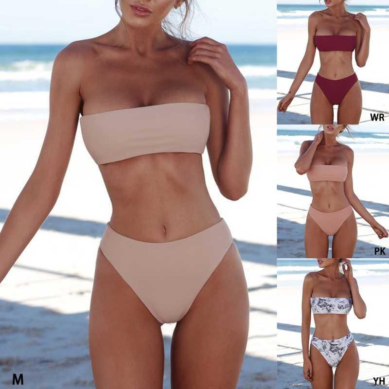 Juego de Bikini sensual para mujer Strapless Bandeau push-up Bra Swimsuit traje de baño